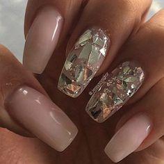 Broken Mirror Glitter Nails