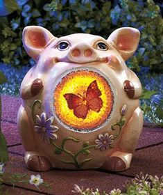 94cf06f15f4 PIG Solar Farm Animal Garden Light up Yard Deck Pool Porch Cute Decor  Outdoor This Little