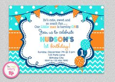 Boys Chevron Birthday , Invitation  Boys 1st birthday Birthday Balloons invitation #turquoise #orange #1stbirthday #boys #balloons #chevron #socute