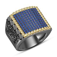 1.50 CT Round Blue Sapphire 14Kt Black Gold Finish 925 Silver Men's Wedding Ring #aonedesigns #MensWeddingRing