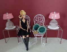 SILKSTONE, CLASSIC BLACK DRESS BARBIE, POPPY PARKER, FASHION ROYALTY DOLLS. PAIR OF MINIATURE HIGH BACK WHITE WIRE CHAIRS. DISPLAYS & DIORAMAS. Doll and other furniture and/or accessories used in photo are not included. | eBay!