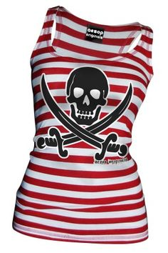 Women's Striped Jolly Roger Tank Top - Red / White