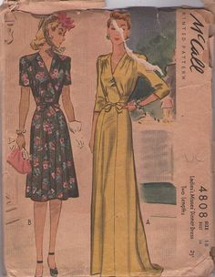 McCall's 4808 Vintage 40's Sewing Pattern AMAZING Hollywood Starlet Cinch Waist Party Dress, Slight Train Elegant Evening Gown