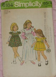 Girl's Dress, Jumper and Blouse 1970s Vintage Sewing Pattern SIMPLICITY 6184, size 6. $5.95, via Etsy.