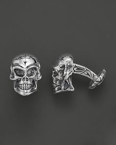 <3 a rebel in the boardroom!    Scott Kay Men's Medium Sterling Silver Skull Cufflinks | Bloomingdale's