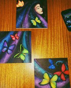 17 Me gusta, 3 comentarios - Daniela 👹 (@paranoia_696) en Instagram: 🌌✨✨✨✨⭐🎨🖌 #pintura #acrilico #cuadros #triptico #arte #art #artwork #artuniverse #acrilicosobremadera #pinturaacrilica  #mariposas #estrellas #universo #artist #painting #argentinaart