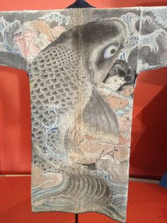 """Tsutsugaki / Guimet Museum (Paris) / Fireman ´s coat. Œuvre exposée lors de l'exposition """"Tsutsugaki, textiles indigo du Japon du musée Guimet"""""""