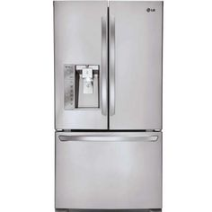 """$1999  LFXC24726S 36"""" Counter Depth Energy Star French Door Refrigerator with 24 Cu. Ft. Capacity, Slim SpacePlus Ice System, Smart Cooling System, SmartPull Handle, and SmartDiagnosis in Stainless Steel"""