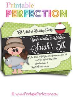 Birthday Party Invitation - O-Fish-Ally - Girl - Fishing - Horizontal