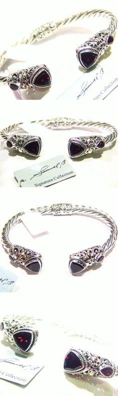 Gemstone 164315: Bjc Samuel B Behnam Sterling Silver 18K Gold Garnet Bangle Bracelet 925 -> BUY IT NOW ONLY: $164 on eBay!