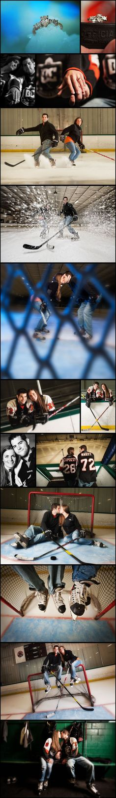 SO MANY great hockey related engagement photos...especially the ring on the puck...awesome!