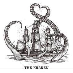 antik: Giant Octopus fängt alten Stil Segelschiff Hand gezeichnet Vektor-Illustration