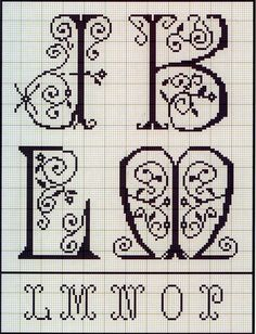 Lovely heart things: Cross Stitch: Alphabet from the French album of the XIX century (7)