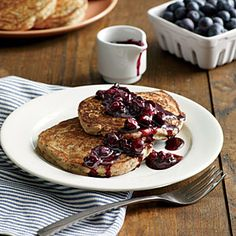 Lemon-Poppy Seed Pancakes with Blueberry Compote - MyPlate-Inspired Breakfast Recipes - Cooking Light Mobile Breakfast Dishes, Breakfast Recipes, Breakfast Items, Sunday Breakfast, Breakfast Pastries, Breakfast Bake, Blueberry Compote, Blueberry Pancakes, Blueberry Sauce