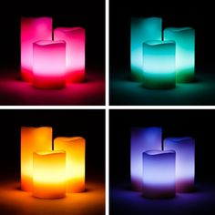 Battery Operated Flameless LED Wax Candles With Remote Control - 12 Color Options (Set of 3 Candles) [22062 Flameless Wax LED Candles] : Wholesale Wedding Supplies, Discount Wedding Favors, Party Favors, and Bulk Event Supplies
