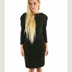 Beaded Black Dress Vintage gorgeous black dress with gold beads throughout. Features low back, beads surrounding neckline and hem of long sleeves and completely lined. Knee length. Size 10. Some beads have come off (see last pic). Vintage Dresses Long Sleeve