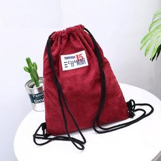 $29.97 - Corduroy Drawstring Backpack (FREE SHIPPING) Women's Backpacks, Corduroy, Drawstring Backpack, Shoulder Strap, Free Shipping, Bags, Stuff To Buy, Collection, Handbags