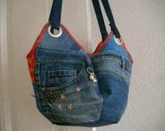 Segeltuchtasche Tote Jeans mit vielen Taschen  Tasche von Lowieke