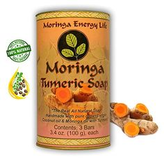 MORINGA TURMERIC SOAP 3PACK Rejuvenate Your Skin with All Natural Moringa Soap Handmade with Pure Organic Virgin Coconut Oil  Turmeric * Click on the image for additional details.