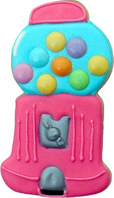 Gumball machine cookie decorated by Vicki of SweetTweats in MS. Cookie cutter http://www.coppergifts.com/cookie-cutters/pc/Gumball-Machine-Cookie-Cutter-111p5614.htm