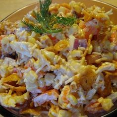 Frito and Corn Salad Recipe, I think I can tweek this to fit my WW plan, using fat free mayo, and Special K cracker chips instead of fritos.