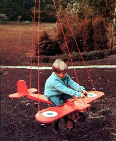 Project Plan Swinging Airplane Any young pilot can bank, dive, and climb in this plane that swings from a sturdy tree branch. It is cut from plywood, then sanded and painted. Nylon rope is threaded through pulleys at strategic points. Kids Backyard Playground, Backyard For Kids, Easy Wood Projects, Fun Projects, Trendy Tree, Outdoor Toys, Wood Toys, Diy Toys, Kids Furniture