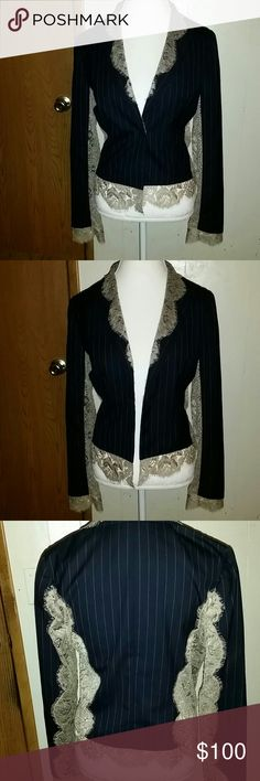 """Gianfranco Ferre blazer Edgy yet feminine pinstripe and lace blazer by Gianfranco Ferre.  Black and taupe-y lace with same taupe-y pinstripes.  This makes it easy to understand why they called Gianfranco """"l'archititetto"""" or """"the architect"""" of fashion.  So stunning! In EUC. This is marked size 44 but in my opinion fits like a size 12 or possibly even a 10. Gianfranco Ferre Jackets & Coats Blazers"""
