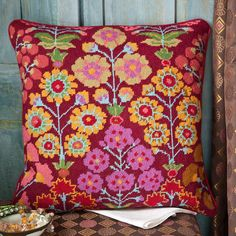 """Persian Garden - Ehrman Tapestry. By Kaffe Fassett. 16.5"""" x 16"""". 43 cm x 41 cm. 10 holes to the inch. Ehrman wools. Needlepoint Designs, Needlepoint Pillows, Needlepoint Kits, Tapestry Design, Textile Design, Embroidery Patterns, Cross Stitch Patterns, Tapestry Online, Persian Garden"""