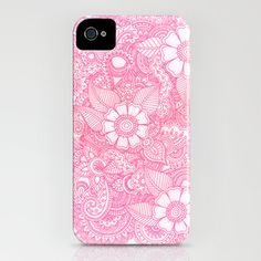 Henna Design - Pink iPhone Case by Haleyivers - $35.00