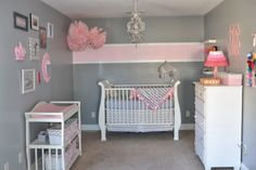 Grey walls, white furniture, this stripe pattern, but with aqua everywhere there… – Baby Room 2020 Striped Walls Nursery, Gray Bedroom Walls, Pink And Gray Nursery, Striped Room, Grey Walls, Pink Striped Walls, Stripe Walls, Nursery Room Decor, Nursery Furniture