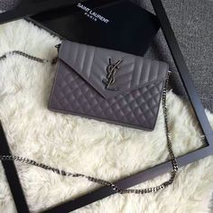 2016 A W SAINT LAURENT Monogram Chain Wallet in Grey Mixed Matelassé Leather b6f290085a