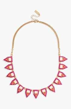 Prom accessory - Pink and gold frontal necklace