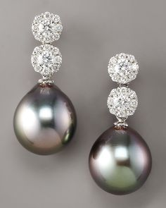 Assael Diamond & Pearl Drop Earrings in Silver (black) | Lyst