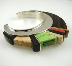 Cuff | Edison Cummings (Navajo). 'High Rise'.  Sterling silver, Turquoise, Coral, Gaspeite, Fossilized Ivory and Ebony.