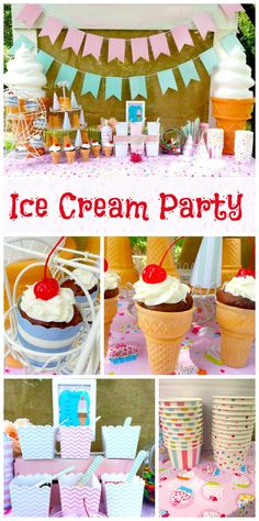 An Ice Cream Social party celebrating the end of the summer with cupcakes, DIY topping bar and more!  See more party ideas at CatchMyParty.com!