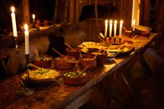The Wolf Lord (fjorn-the-skald: Viking Style Feast Rosala. Medieval Banquet, Medieval Party, The Kiss, Yule, Iron Age, Vikings Tumblr, Viking Party, Viking Village, Viking Life