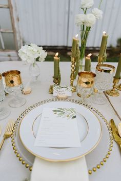 Elegant, sophisticated and absolutely swoon-worthy — today's styled shoot will leave you with day dreams of white barns, romantic can. Gold Table Decor, Table Decorations, Gold Wedding, Dream Wedding, White Barn, Vintage Green, Green And Gold, Table Settings, Palette