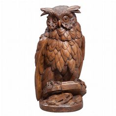 cool wooden Owl Wood Carving Faces, Wood Carving Designs, Tree Carving, Wood Carving Art, Wood Art, Bird Sculpture, Animal Sculptures, Owl Artwork, Whittling Wood