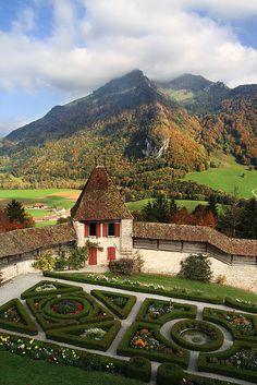 View from the balcony of The Castle of Gruyères, located in the medieval town of Gruyères, Fribourg, is one of the most famous in Switzerland