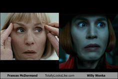 Frances McDormand Totally Looks Like Willy Wonka (Johnny Depp)