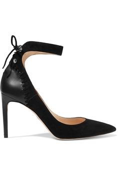 Chelsea Paris Medina leather paneled whipstitched suede pumps in black.