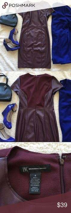 INC Faux Leather Sheath, sz 4 INC International Concepts faux leather sheath dress in a rich maroon color. The back portion is made of a knit material. The placement of the seams is very flattering. The is in good used condition. Size: 4 INC International Concepts Dresses