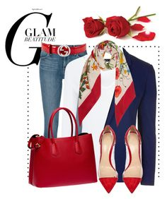 """Glam beatitude"" by pomy22 on Polyvore featuring Frame Denim, Joseph, Topshop, Gucci, Prada, Gianvito Rossi, Spring and red"