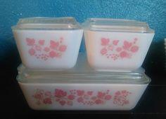 Vintage Pyrex Pink Gooseberry 8 Pc. Refrigerator dish Set glass ribbed lids | Pottery & Glass, Glass, Glassware | eBay!