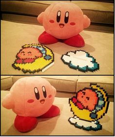 This was my very first time making a perler stand. Isn't kirby so cute Kirby Perler Stand Perler Bead Templates, Pearler Bead Patterns, Diy Perler Beads, Perler Bead Art, Perler Patterns, Hama Beads Pokemon, Quilt Patterns, Hamma Beads 3d, Pearler Beads