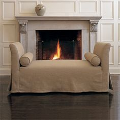 Left Bank Settee | Furniture Collection by Maxine Snider Inc. interior design, furniture, seating, chaise lounge, daybed, cozy, minimalist, traditional, transitional design, modern, contemporary, fireplace, living room, bedroom, sofa, formal living room, high-end, luxury, sitting room