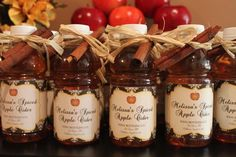 Personalized Apple Cider bottles - great for Christmas Party Favors or a Fall Wedding, or Shower - Hostess with the Mostess®
