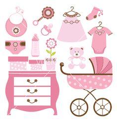 Baby shower pink vector