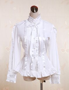 Cotton White Ruffles Lolita Blouse $37.99 AT vintagedancer.com