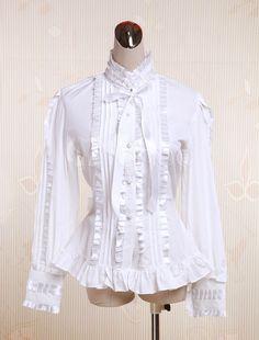 Cotton White Ruffles Lolita Blouse $37.99 AT vintagedancer.com